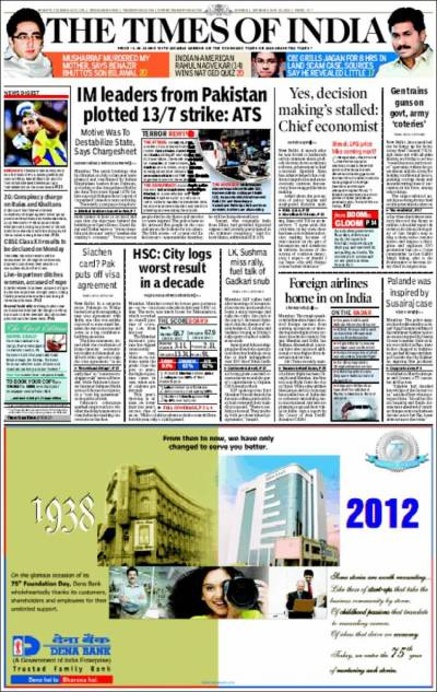 Newspaper The Times of India (India). Newspapers in India. Saturday's edition, May 26 of 2012 ...