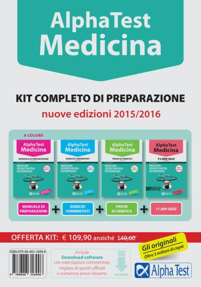 Alpha test. Medicina, odontoiatria, veterinaria. Kit completo di preparazione. Con test di ...
