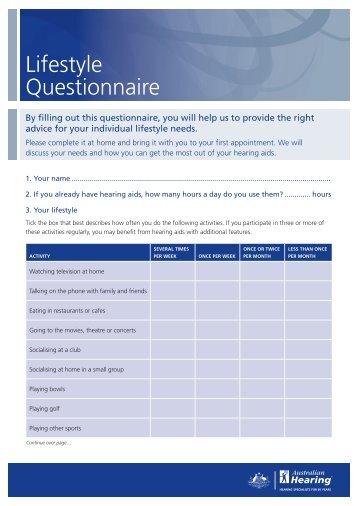 Lifestyle questionnaire - IRCM