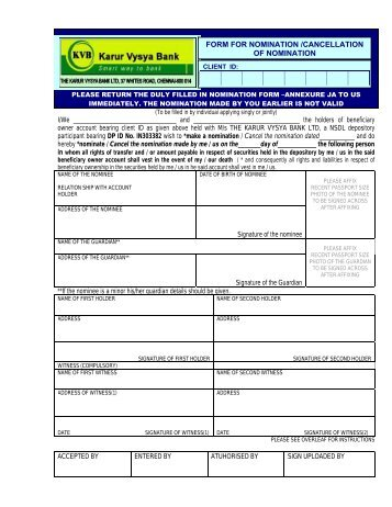 Account Opening Form - Karur Vysya Bank