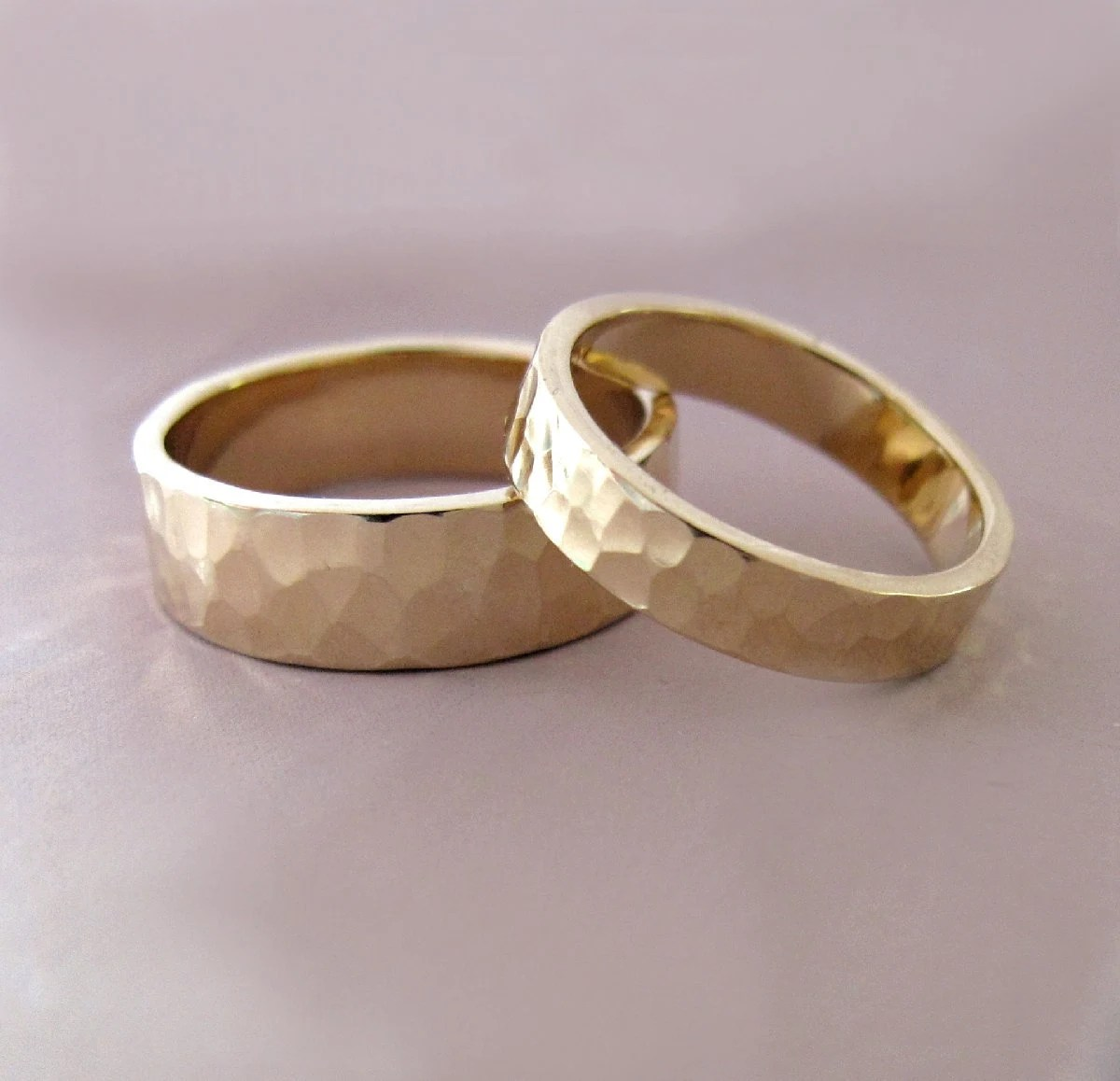14k gold wedding ring set of two hand gold wedding ring sets zoom