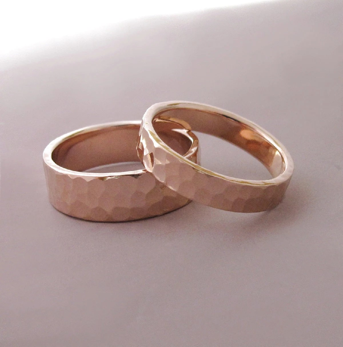 14k rose gold wedding rings hammered rose gold wedding rings zoom