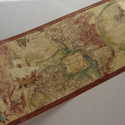 Old World Expedition Style Map Wallpaper Border Norwall
