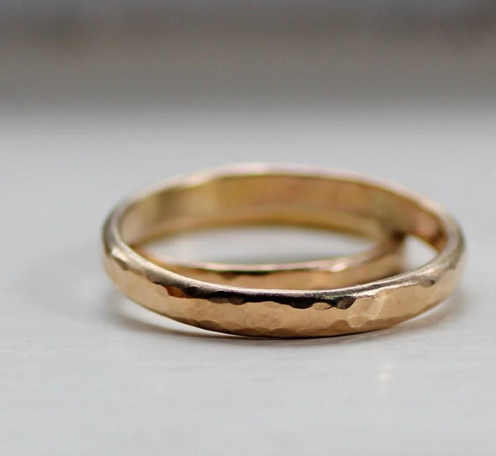 simple wedding band set rustic gold rustic wedding bands zoom
