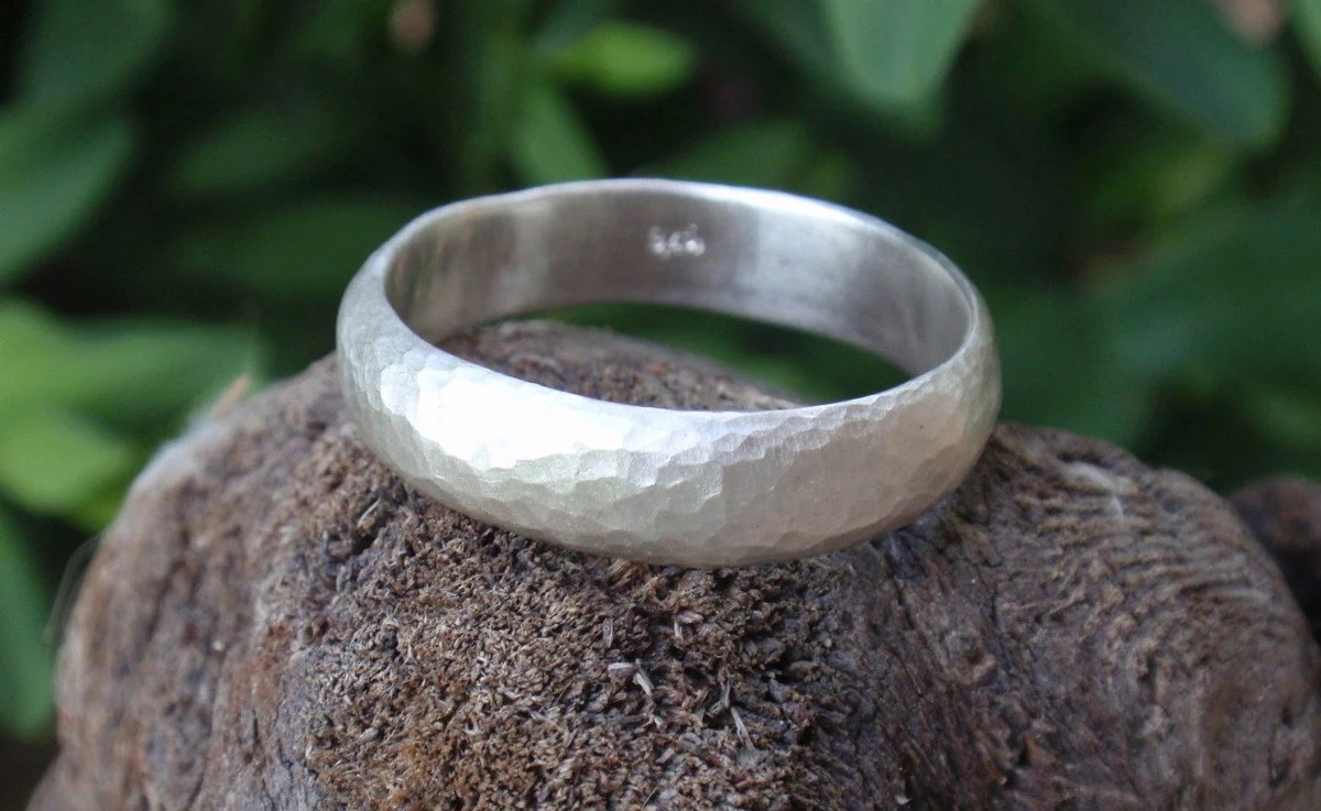 rustic wedding band mens country wedding bands mens hammered wedding ring man wedding band ring 5mm wide mens ring sterling silver mens gifts recycled jewelry textured ring sizes 3 to 16