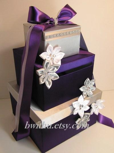 Wedding Card Box Purple and Silver Gift Card Box Money Box