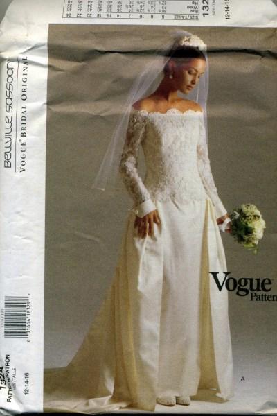 Vogue DESIGNER Wedding Dress Pattern Bellville Sassoon 1324