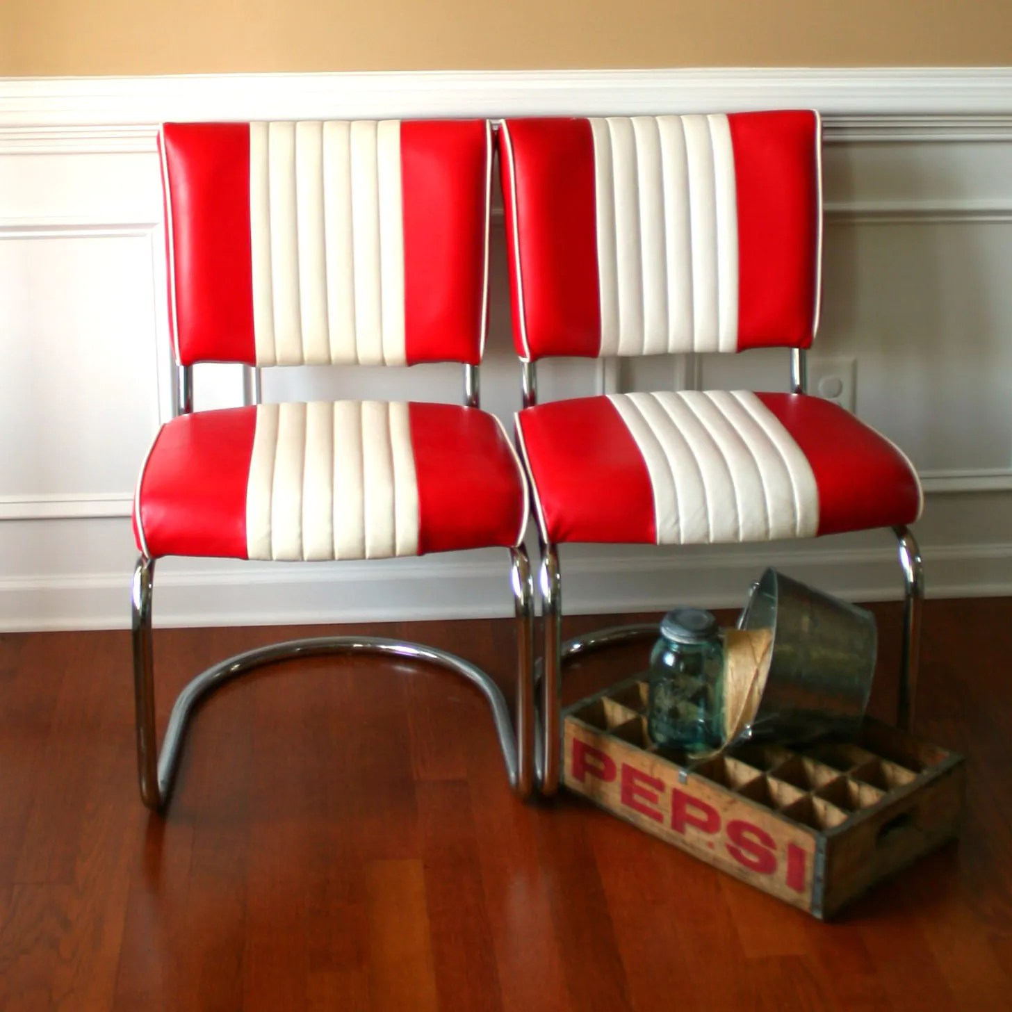 mid century chairs pair diner red white mid century kitchen chairs zoom