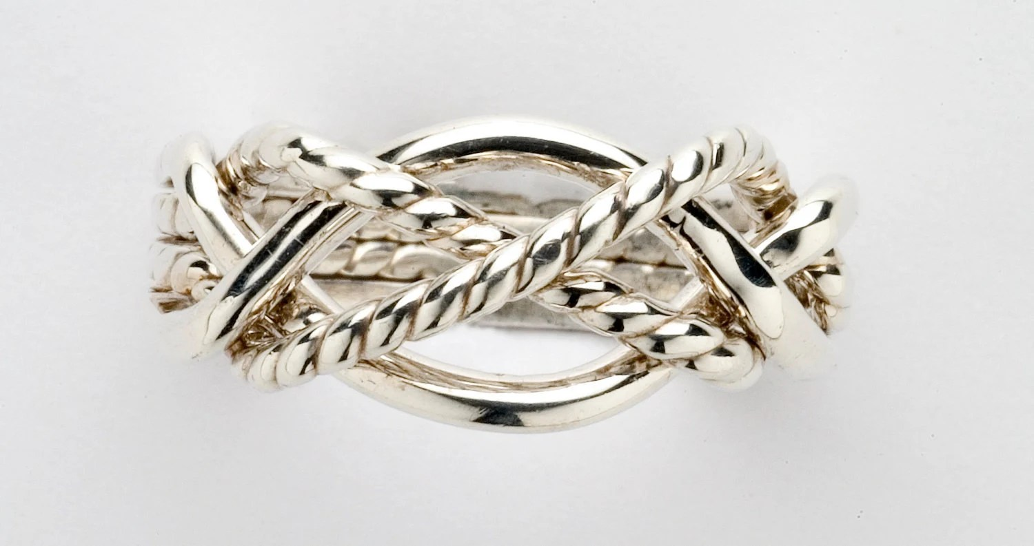 platinum ring puzzle wedding rings Sterling Silver Gold or Platinum Ladies Four Band Puzzle Ring with Twisted Bands X