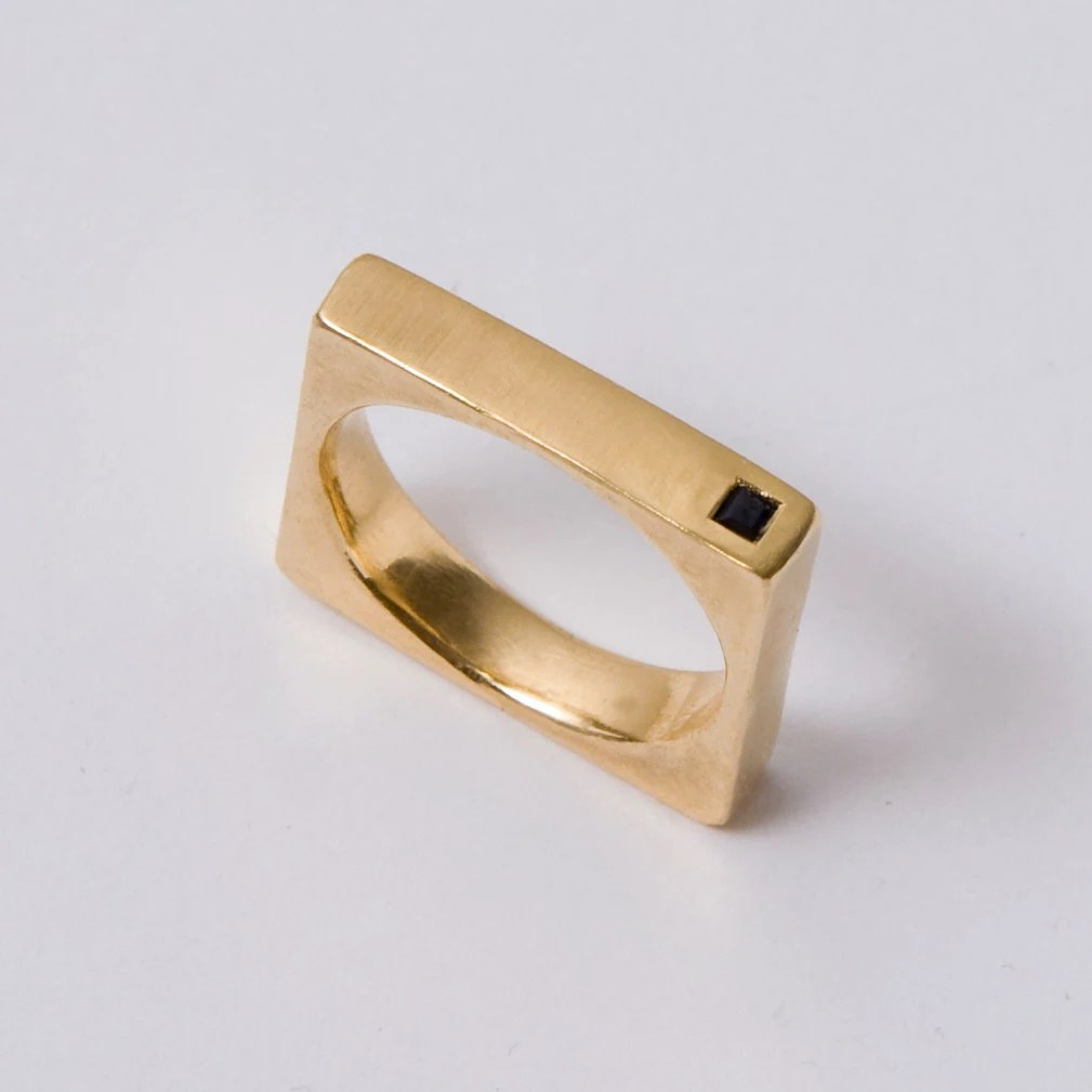 onyx wedding band onyx wedding band Square Gold Men s Band 14K Gold and Onyx Square Unisex Ring unisex ring wedding ring wedding band mens band AA