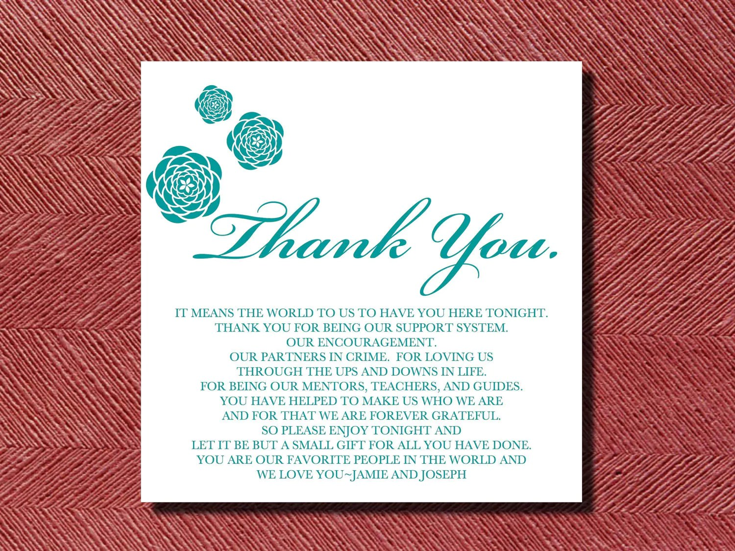 wedding thank you place setting card diy thank you cards wedding Request a custom order and have something made just for you