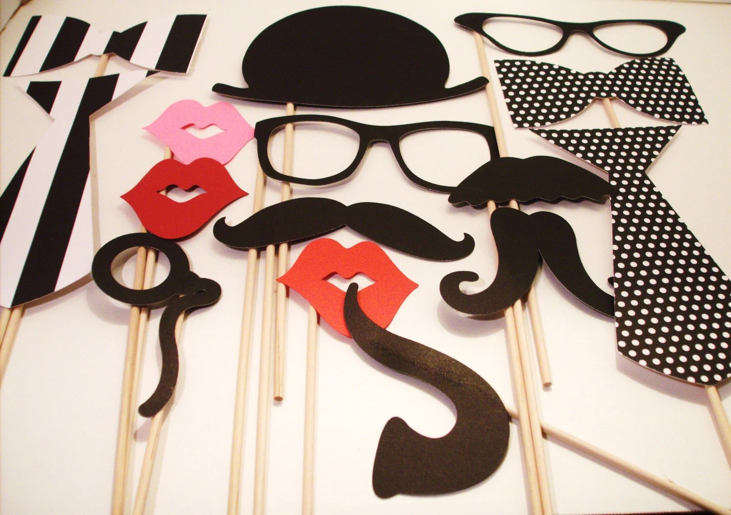 moustache props wedding photo booth props Birthday Photobooth Props Photo Props Wedding Photo props Set of 15 Black and White Hipster Set