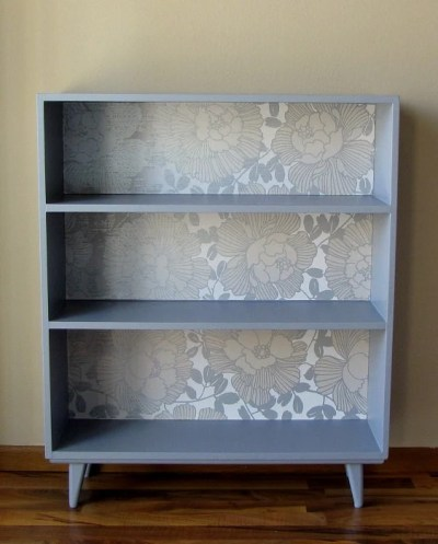 Painted Bookcase with Wallpaper Back