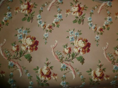 Antique Wallpaper Vintage Block Printed Shabby Chic Roses