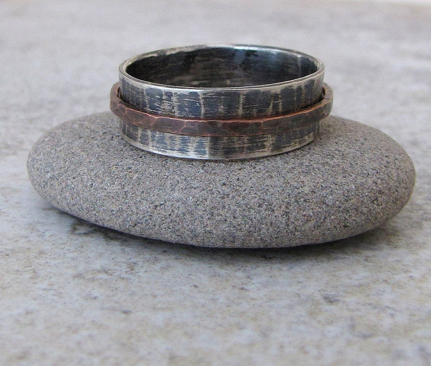 mens wedding band silver copper spinner rustic wedding bands zoom