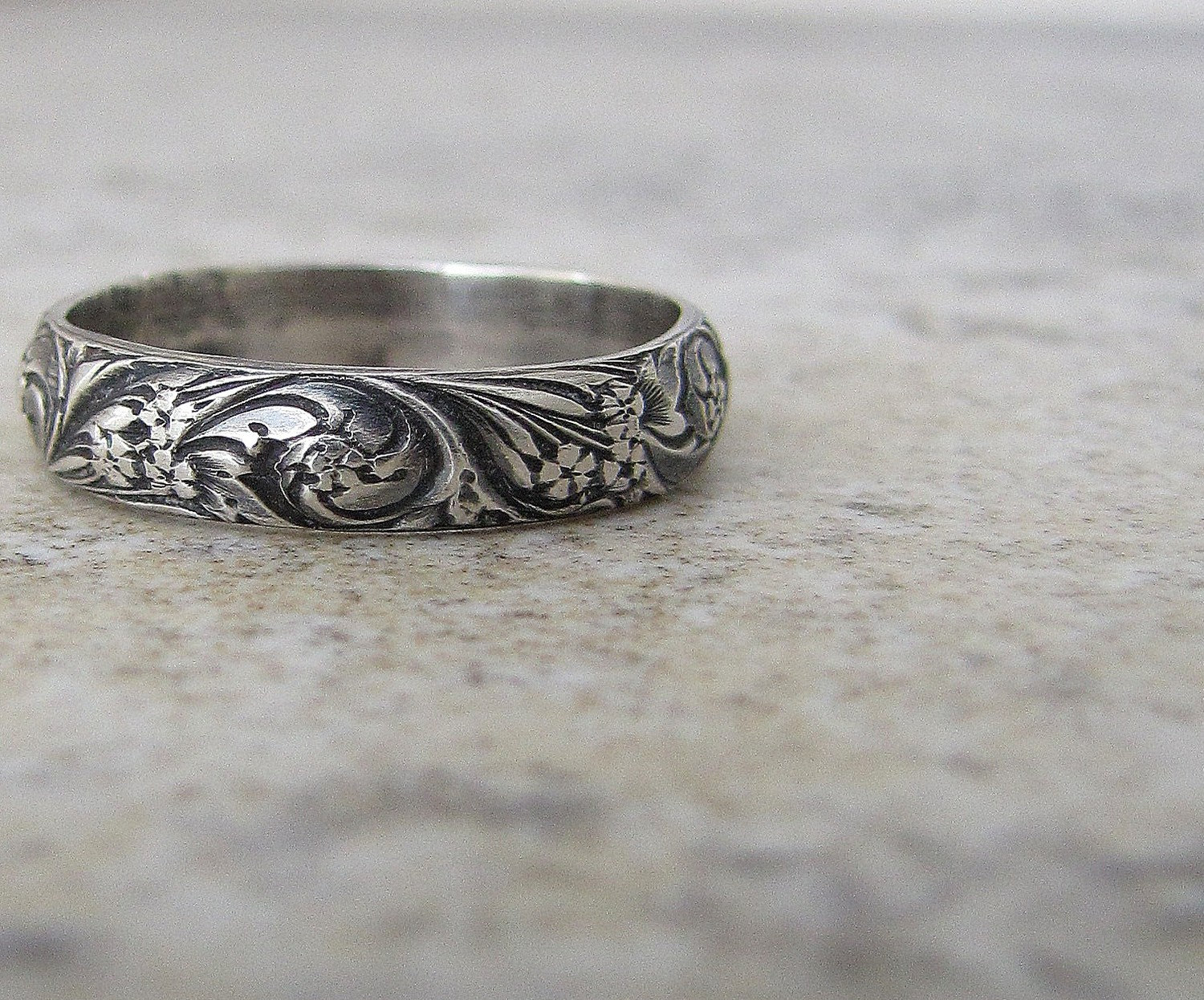 antique wedding band victorian wedding rings Antique Wedding Band Floral Pattern Ring Silver Floral Wedding Ring