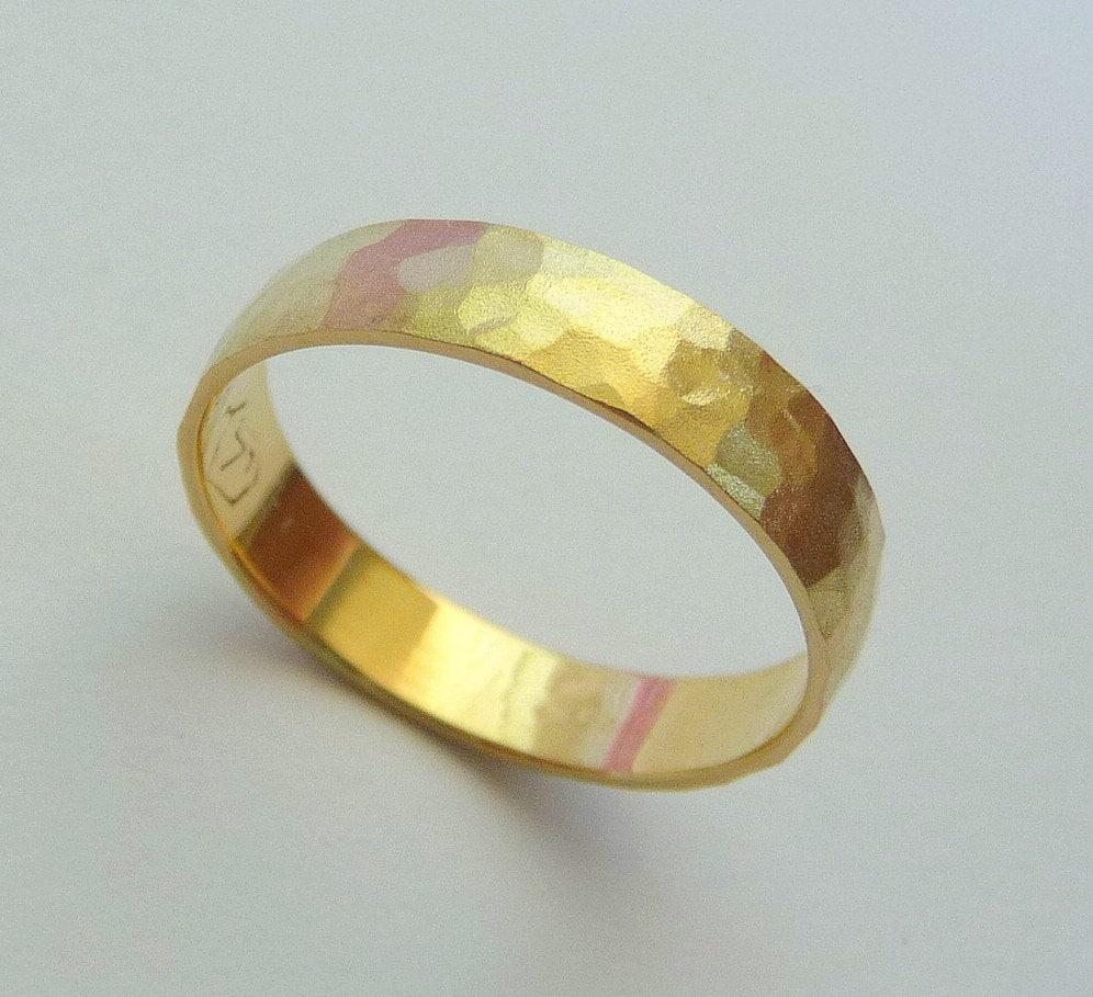 gold wedding band men women ring 14k hammered wedding band zoom