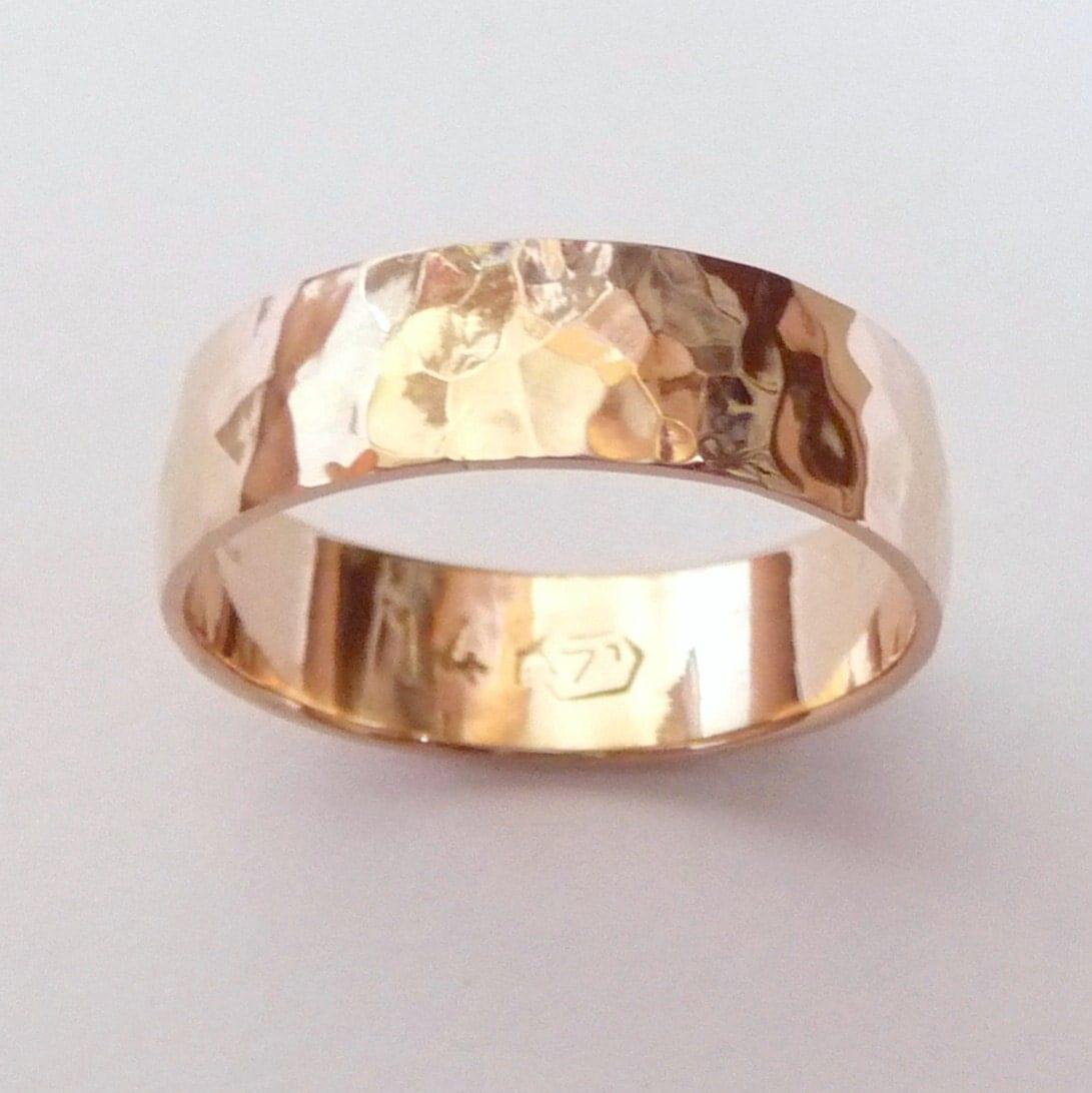 men rose gold wedding band hammered etsy wedding bands zoom