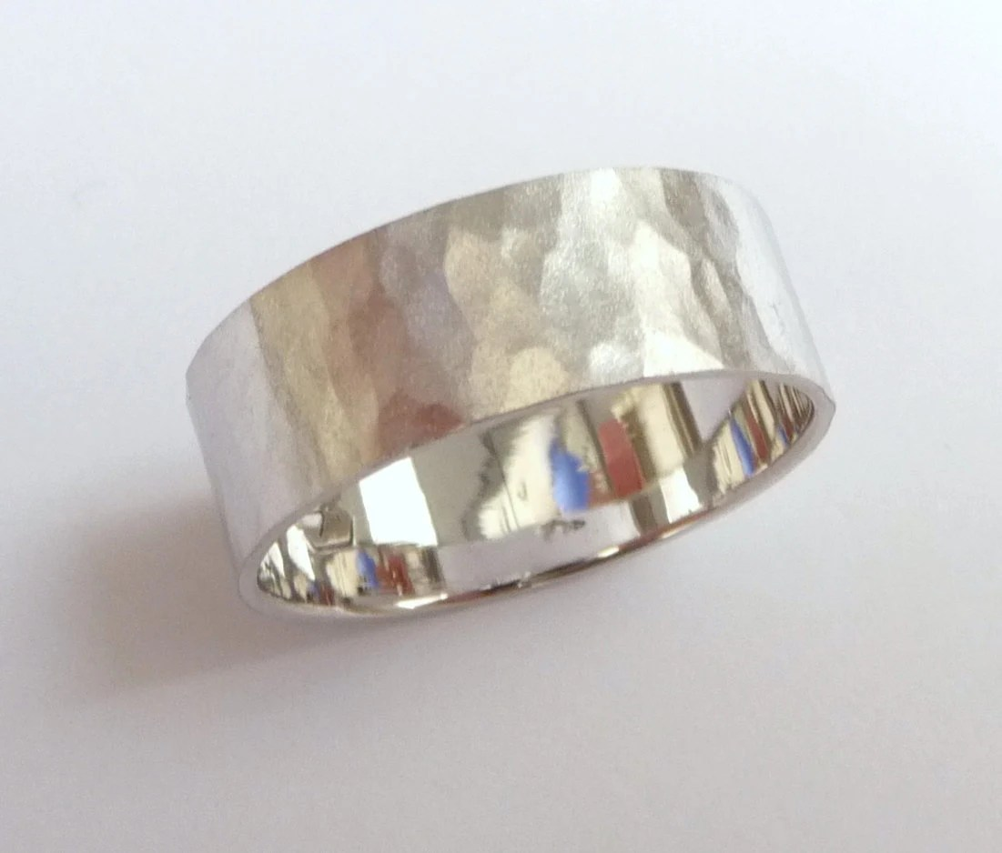 mens hammered wedding band women and hammered wedding band zoom