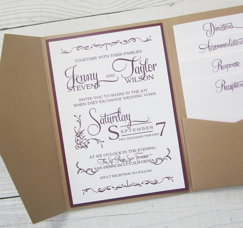rustic kraft wedding invitation pocket photo wedding invitations zoom