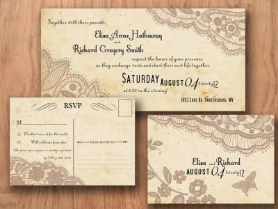 Printable VINTAGE WEDDING INVITATIONS by DesignedWithAmore ...