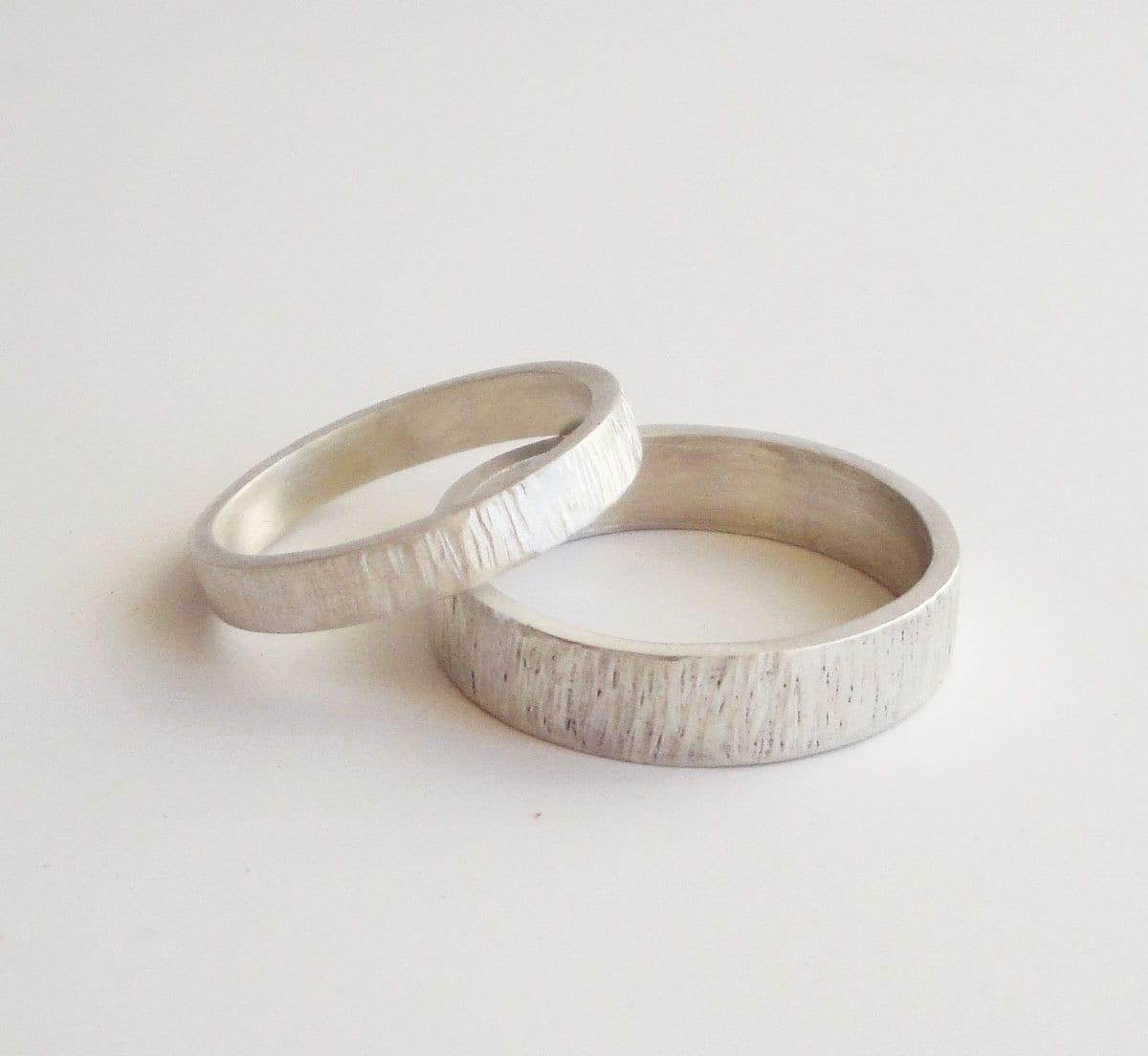 simple wedding rings set handmade couples wedding bands zoom