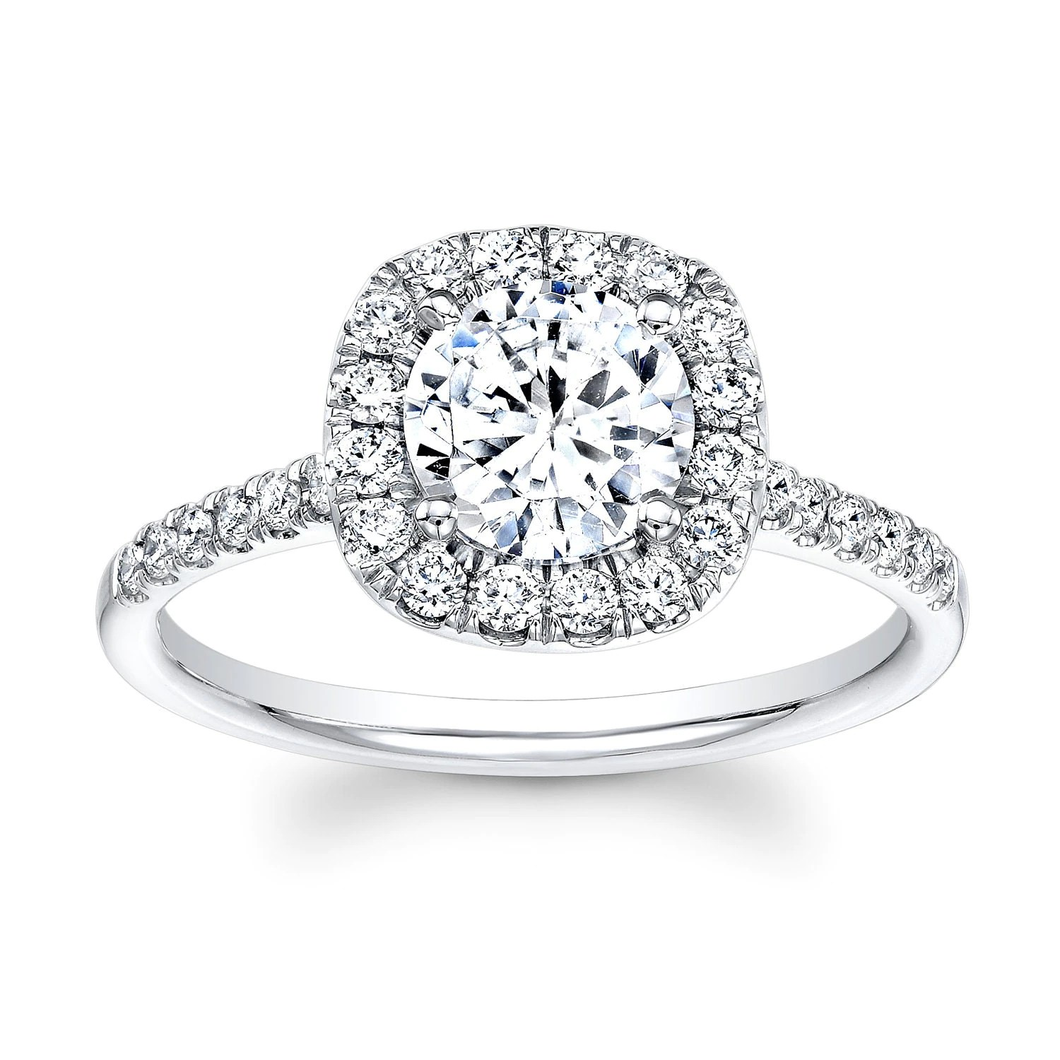ladies 18kt white gold diamond halo white sapphire wedding rings engagement ring with 1ct Round white Sapphire and 0 40 ctw zoom