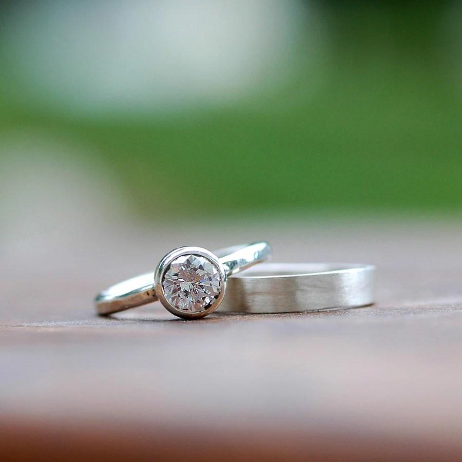 wedding ring set engagement ring wedding hammered wedding band zoom