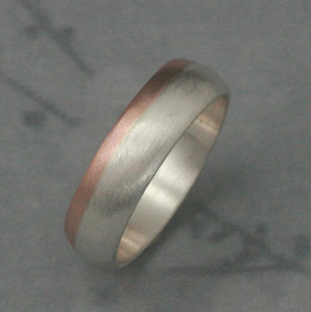 mens rose gold band modern mens wedding bands 14K Rose Gold and Silver Ring Two Tone Band Modern s Men s Band Men s Wedding Band 6mm Wide Band Men s Wedding Ring Two Tone Band