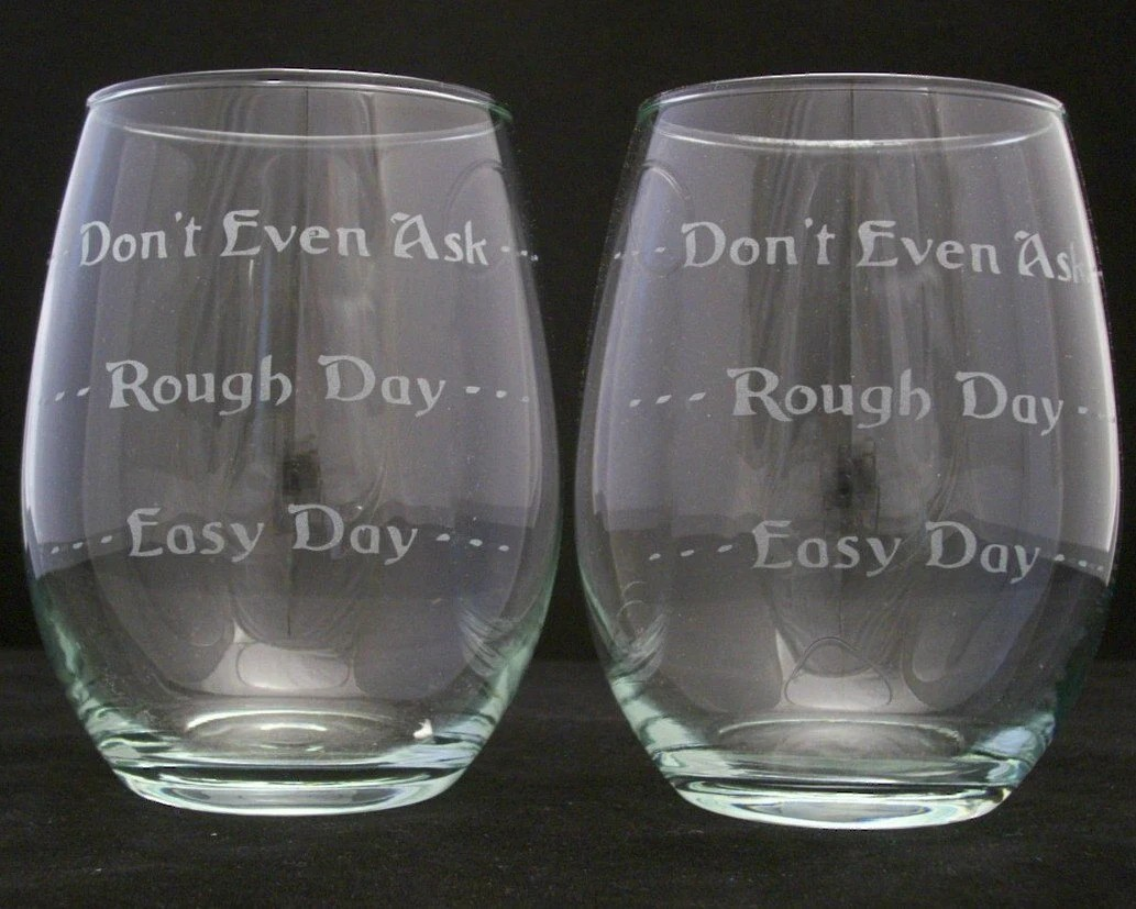 good day bad day stemless wine glasses cool wedding gifts zoom