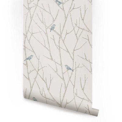 Branch Birds Blue Peel & Stick Fabric Wallpaper by AccentuWall