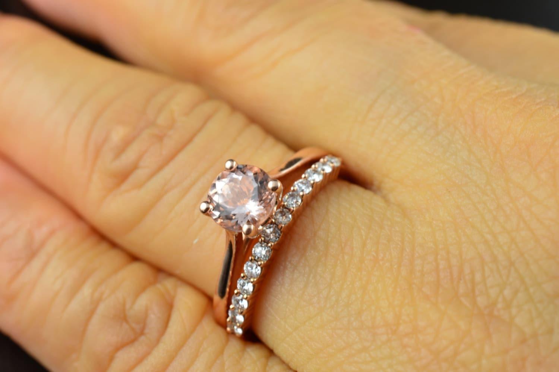 emma ruth petite ashley set morganite morganite wedding ring set Set Morganite Engagement Ring in Rose Gold and Diamond Wedding zoom