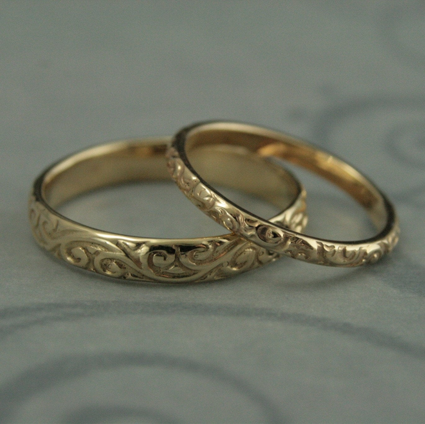 antique wedding band victorian wedding rings Patterned Wedding Band Set Vintage Style Wedding Rings His and Hers Set Antique Style Rings 14K Gold Rococo Flourish Set His and Hers Bands
