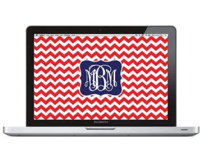 Items similar to Monogram Laptop Wallpaper - Chevron on Etsy