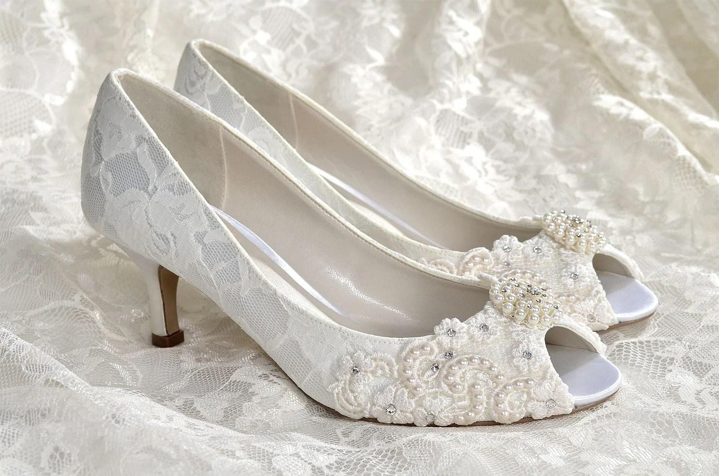 pearl wedding shoes kitten heel wedding shoes Wedding Shoes Medium Heels Custom Colors Vintage Wedding Lace Peep Toe Wedding Heels Women s Bridal Shoes PBP 2 25 Heels Pink 2 Blue