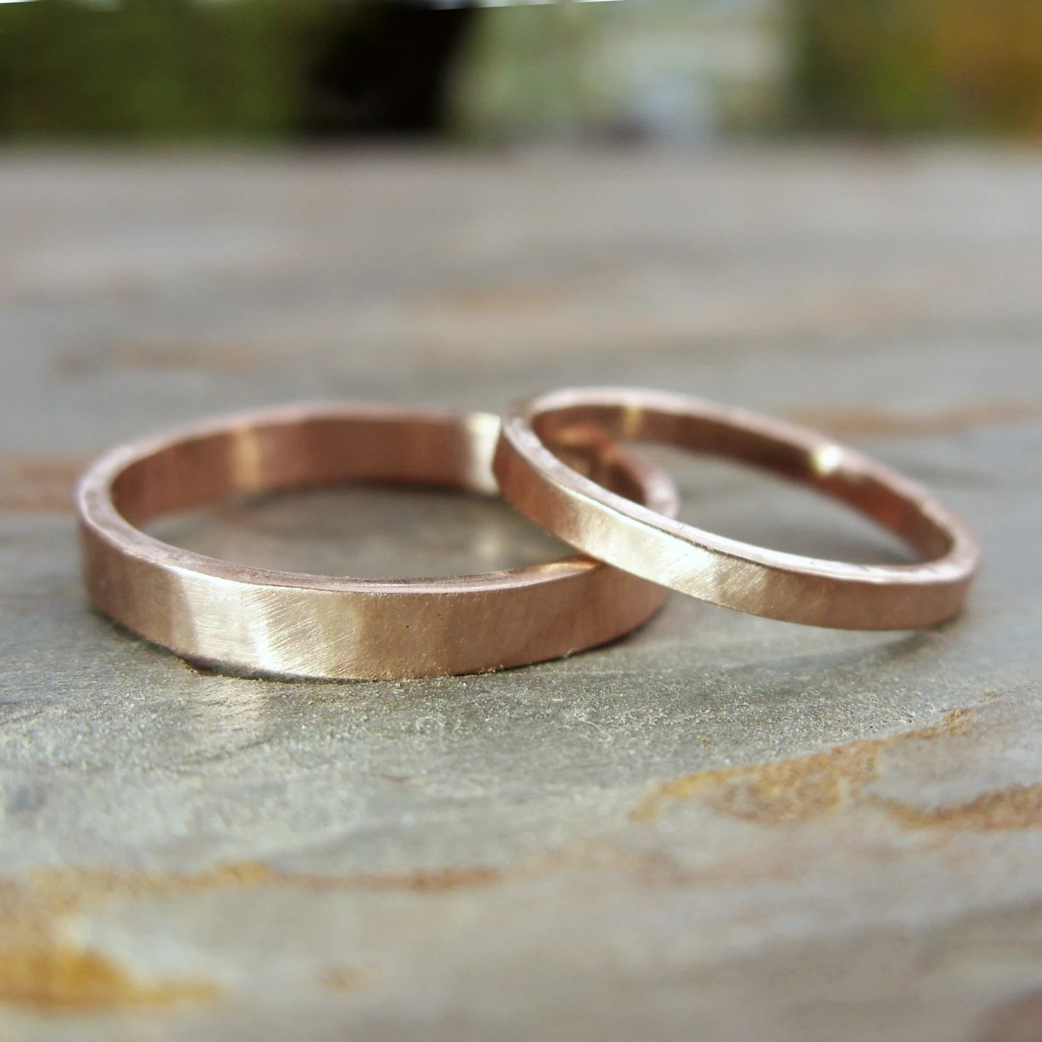 simple thin 14k rose gold wedding band matching wedding bands Hammered Matching Wedding Band Set in Solid 14k Yellow or Rose Gold Flat Bands in 2mm and 3mm Choose Polished or Matte Finish
