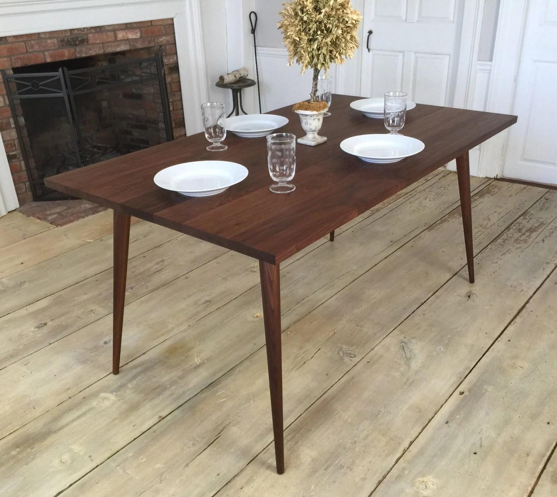 black walnut dining table mid century mid century kitchen table Black walnut dining table mid century modern featuring tapered wood legs zoom