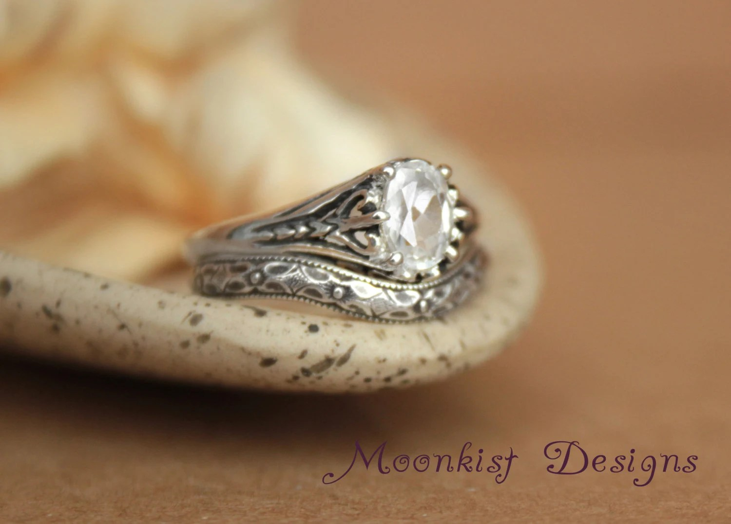 filigree engagement ring set with fitted etsy wedding bands zoom