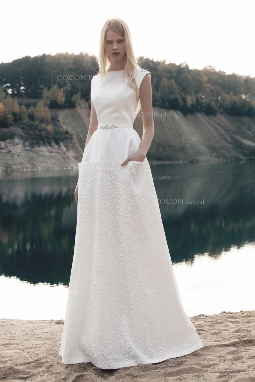 pocket wedding dress wedding dress with pockets A line Stunning and Elegant Wedding Mikado Dress with corded lace skirt Wedding dress with pockets Aristocratic wedding Antalia