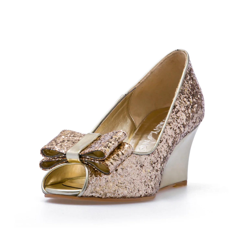 gold wedding shoes beach wedding shoes Ashley Gold Glitter Wedges Wedding Shoes Gold Glitter BridalWedges Garden Wedding Beach Wedding Bridal Shoes