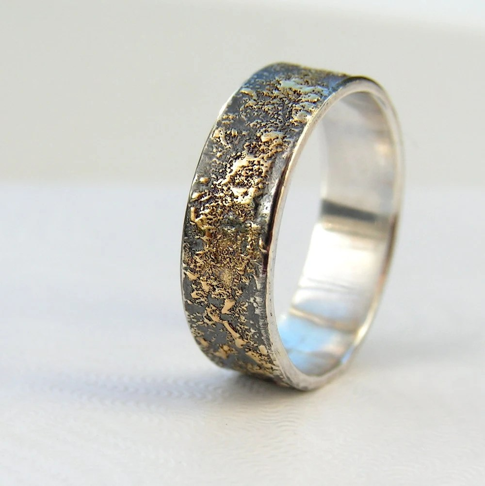 mens wedding band male wedding bands Gold Chaos Rustic Men s Wedding Ring in 18kt Gold and Oxidized Sterling Silver