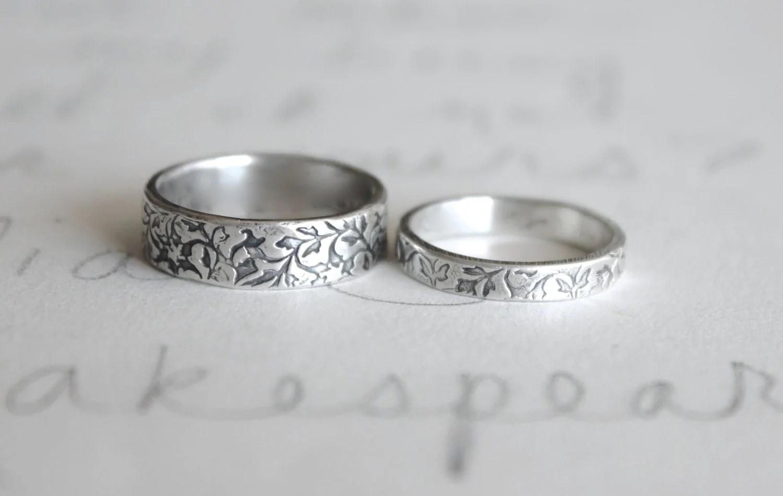 vine wedding band etsy wedding bands wedding band ring set vine leaf wedding rings bands handmade silver wedding ring set engraved wedding rings by peacesofindigo
