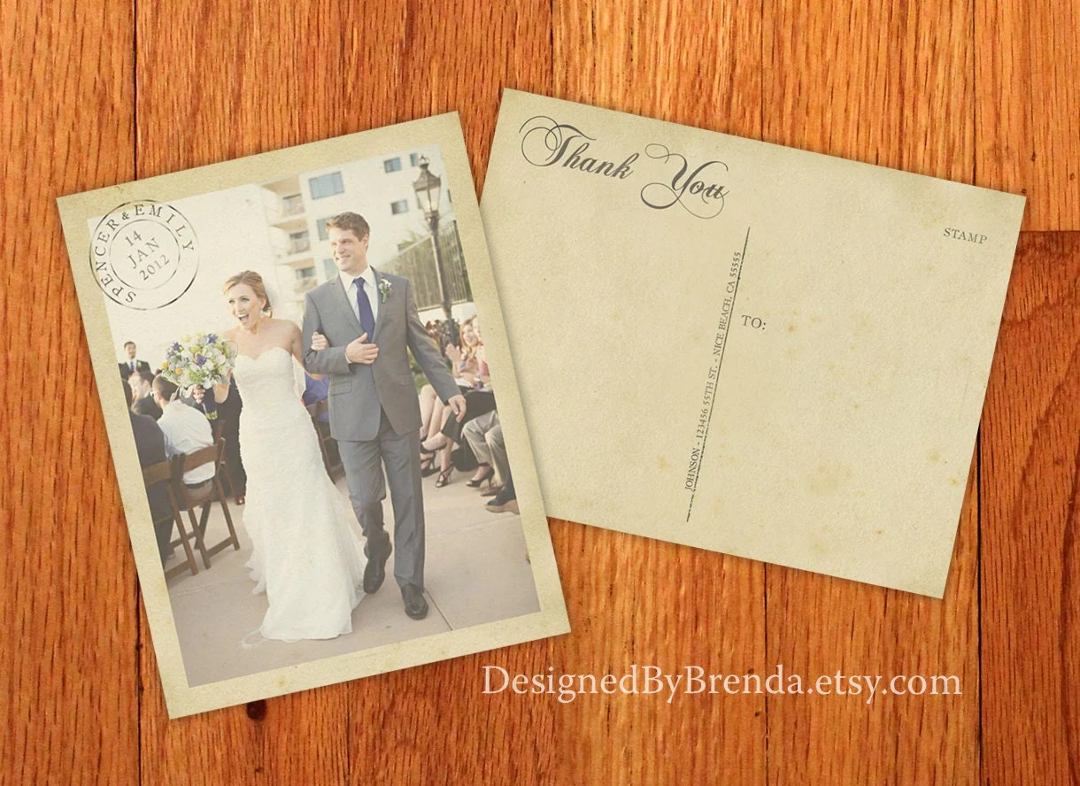 vintage wedding thank you postcards with thank you cards wedding zoom
