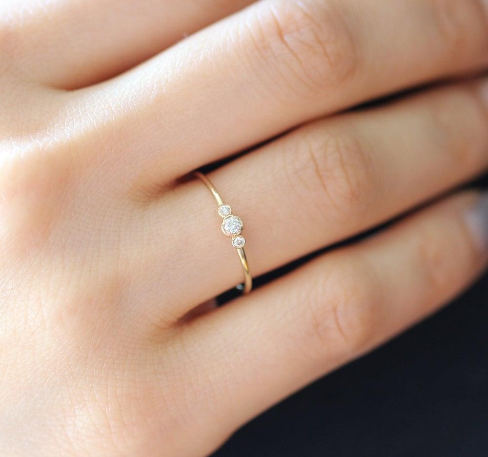 thin diamond ring dainty wedding bands Three Stone Round Brilliant Cut Diamond Engagement Ring Thin 3 Stone Dainty Bezel Set Engagement Ring Three Stone Bezel Diamond Ring