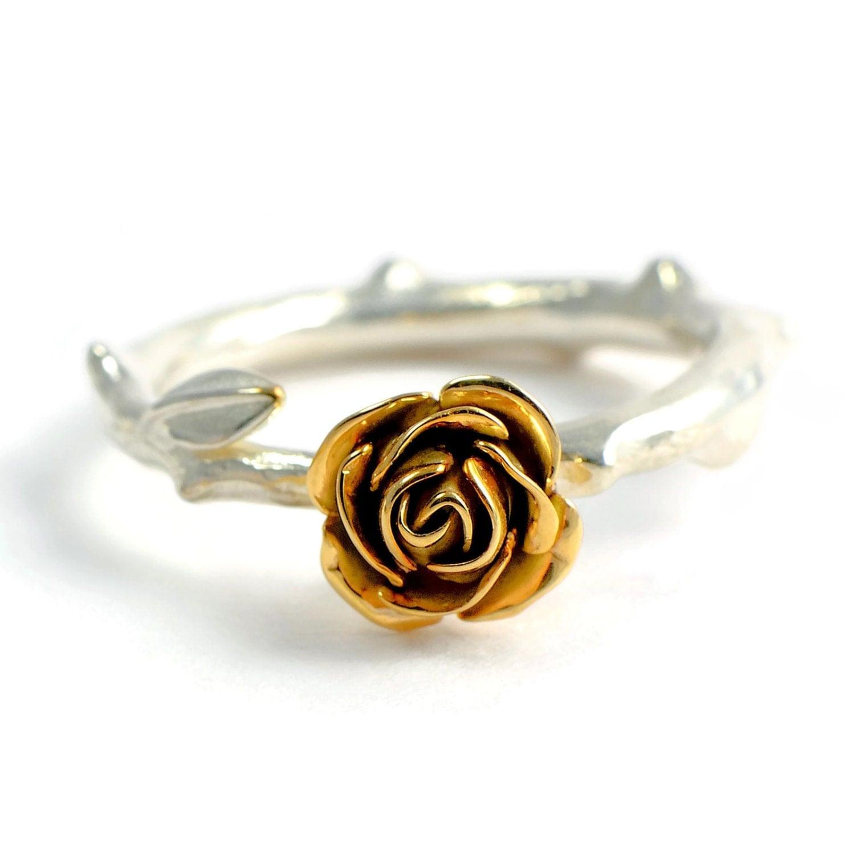 9carats yellow ecogold rose ring rose rose wedding ring zoom