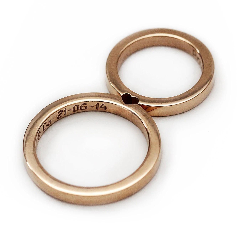 amazing wedding rings etsy mens wedding bands 14k rose gold wedding ring set Promise ring Wedding ring for men Wedding band love ring Set of 2 rings that make a heart wedding bands CADIjewelry