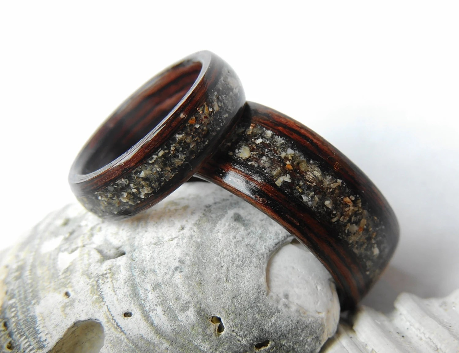 wooden wedding band wooden wedding bands Bentwood Wenge and Beach Sand Wedding Band Set Non Metal Wooden Rings Wood Jewelry