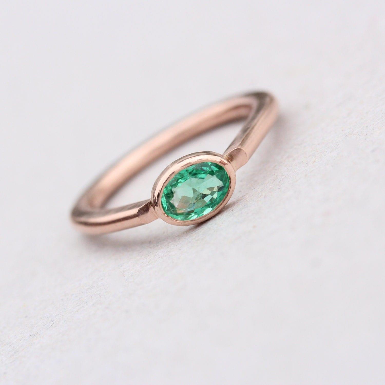 modern 14k rose gold emerald engagement low profile wedding ring zoom