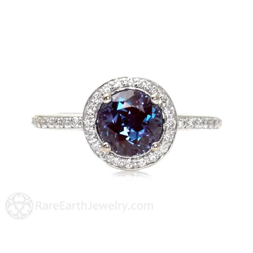 june birthstone ring moonstone wedding ring sets Platinum Alexandrite Ring Diamond Halo Setting Alexandrite Engagement Ring Custom Bridal Jewelry