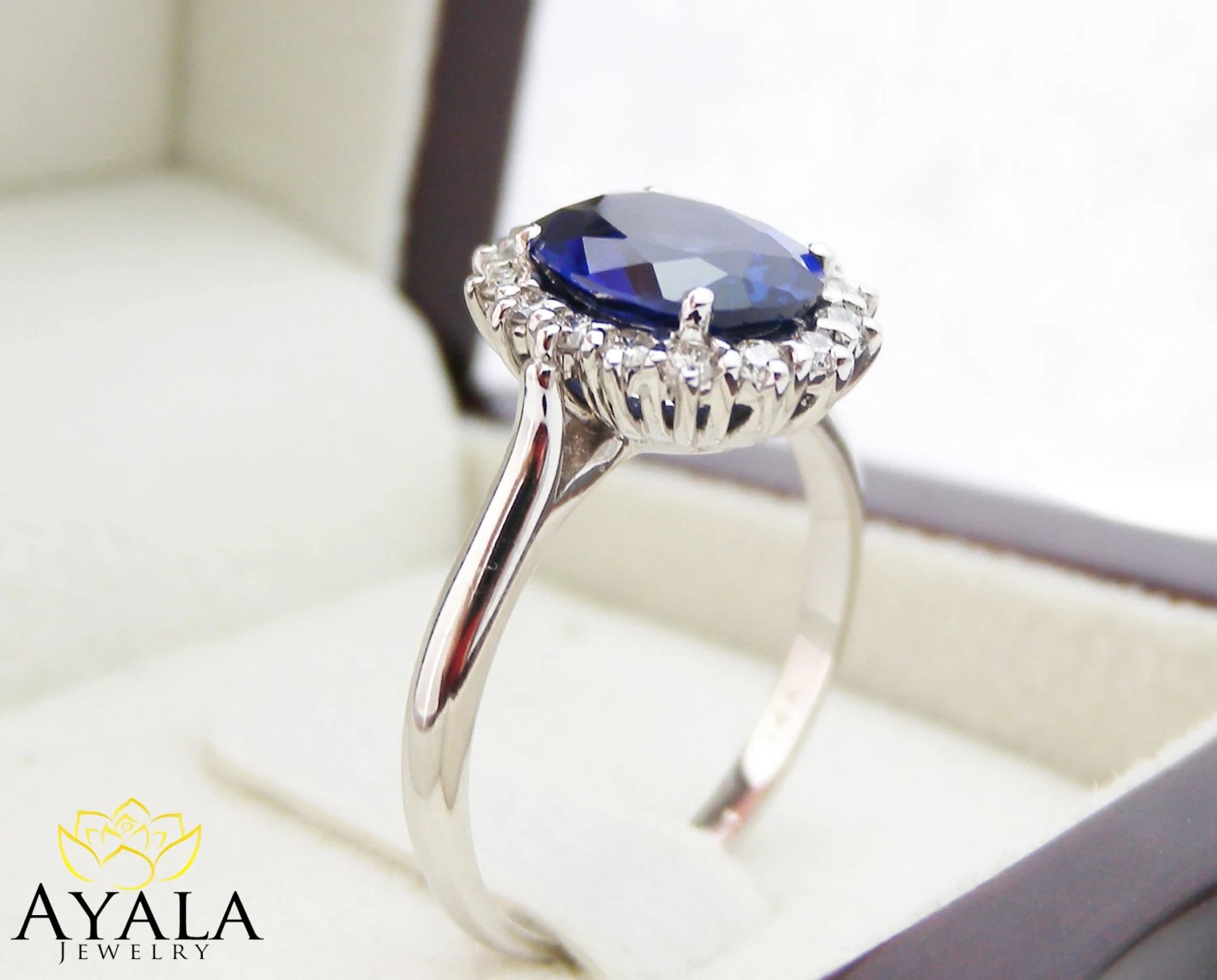 diana ring 14k white gold blue sapphire blue sapphire wedding rings Engagement Ring Blue Sapphire Ring Princess Diana Ring zoom